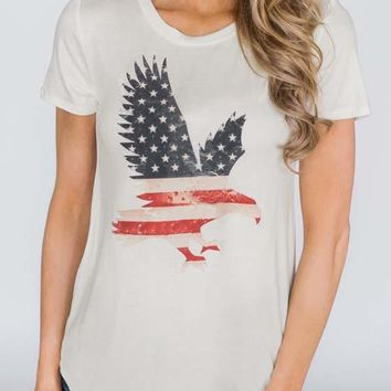 White Eagle American Flag Pattern Round Neck Short Sleeve Casual T-Shirt
