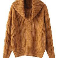 Brown High Neck Chunky Cable Long Sleeve Knit Sweater
