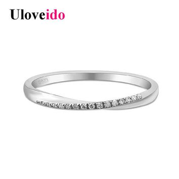 Uloveido 925 Sterling Silver Simple Rings for Women Wedding Ring with Stones Bague Jewellery anillos mujer with Box 40%Off LJ044