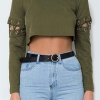 Solid Lace Up Crop Top - Bellelily