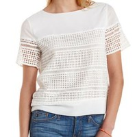 White Boxy Crochet Cut-Out Tee by Charlotte Russe