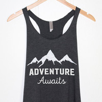 Adventure Awaits Tank Top-Moutains Shirt-Nature Snow Moutain Tee T-shirt Tshirt-Camping Shi-Cup of tee