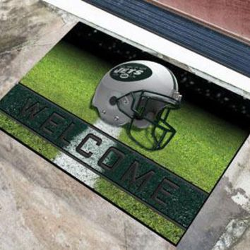 New York Jets Door Mat 18x30 Welcome Crumb Rubber