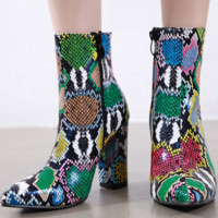 The new style is a hit with sexy chunky colored snake-print ankle boots