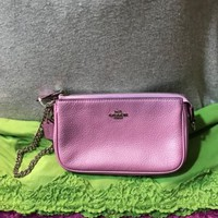 Coach Nolita Pink Pebble Grain Leather Chain Zip Credit Card Wristlet Hobo