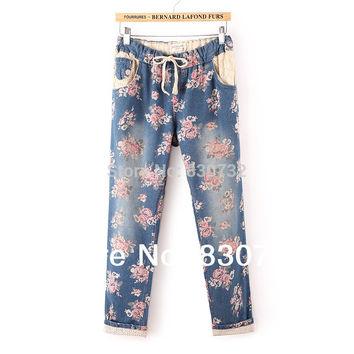 1533 New 2017 Plus Size Harem Pants Women's High Quality Casual Denim Cotton Lace Floral Print High Waist Jeans