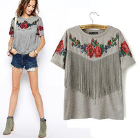 Fringed Roses Shirt