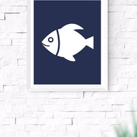 Navy Blue Sea Fish Printable, Sea Wall Art, Nautical Wall Art, Beach House Decor, Nursery Wall Art, Gallery Prints, 8x10, 24x30 Inches