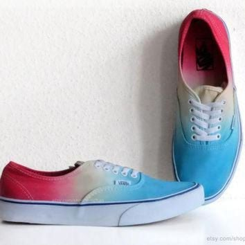 VLXZRBC Turquoise, sky blue, yellow, red ombre dip dye Vans Authentic skate shoes, upcycled vi