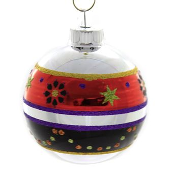 Shiny Brite DECORATED ROUNDS Glass Ornament Halloween 4026977 A