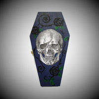 Halloween Skull Coffin Ring Box In Purple Blue, Skull Gift Box, Coffin Gift Box, Skull Trinket Box, Coffin Trinket Box, Coffin Jewelry Box