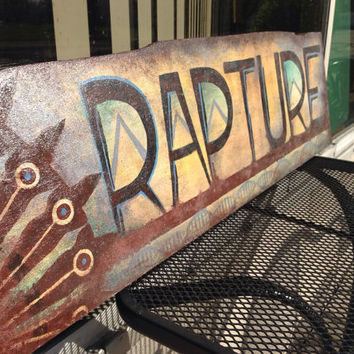 Bioshock Rapture Sign Painting on Wood