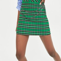 CHECK SKIRT WITH CHAINDETAILS