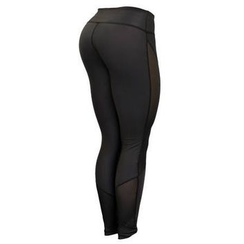 Six Deuce Black Mesh-Tech Black Stitch Fitness Leggings