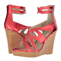 C Label Metallic Wedge Sandal in Red