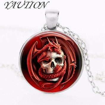 YAUTION Dragon & Skull Pendant Charm Glass Cabochon Ancient Bronze Plated Necklace Gothic Biker Jewelry Private custom gift