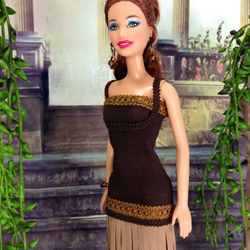 Barbie Doll Clothes - Brown Dress with Tan Fringes, Earrings, Bracelet, and Customized Heels