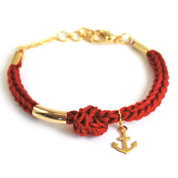 Anchor bracelet, red bracelet with brass anchor charm and knot, nautical jewelry