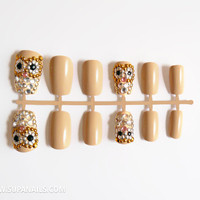 Glam Owls - 12 glamorous nude/beige owl nails with gold,silver and black rhinestones