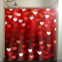 valentines day romantic love hearts red shower curtain bathroom decor fabric kids bath white black custom duvet cover rug mat window