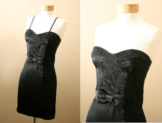 Little Black Dress / with Lace and Bow, Statement, Birthday, Homecoming, Prom, Evening Dress (S, M, L)