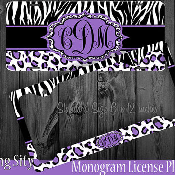 Leopard Monogram License Plate Frame Holder Purple Zebra Snow Cheetah Animal Print Pattern Personalized Custom Vanity Tag Cover