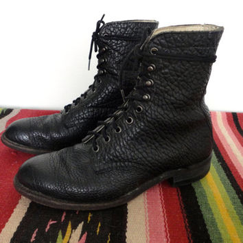 Black Roper Boots - Vintage Biker Rocker Jonny Cash Southwestern Leather Lace Up Packer Boots - 70s/80s Black Cowboy Boots Size 8 1/2 Mens