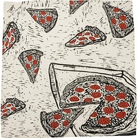 Pizza Dish Towel with Pepperoni in Grey, Black and Red