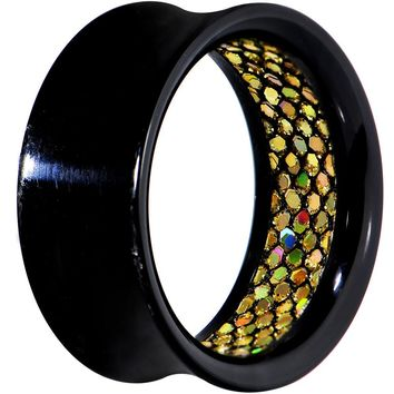 "1"" Black Acrylic Glitter Like Gold Double Flare Tunnel Plug"
