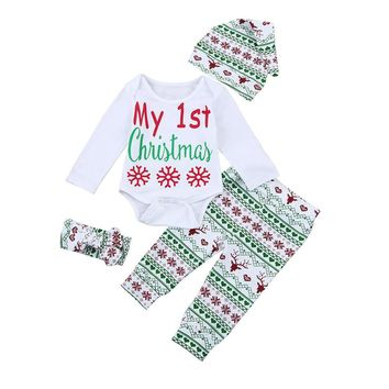 My First Christmas Letter Infant Baby Boy Girl Outfits Clothes Romper Pants Leggings Hat Headband 4PCS Set Babies Clothes