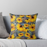 'Black-eyed Susan Pattern' Throw Pillow by RoxanneG