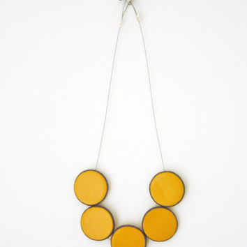 Mustard yellow necklace, polymer clay jewelry, minimal & fun, geometric