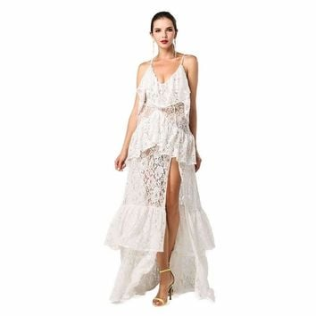 White Layered Maxi Dress, Made to Order