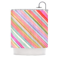 "Heidi Jennings ""Pastel Stripes"" Pink Multicolor Shower Curtain"