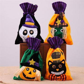 Halloween Pumpkin Witch Ghost Candy Gifts Bag Draw Pocket Hallowmas Trick or Treat Sacks Kids Favors Gifts Event Party Supplies