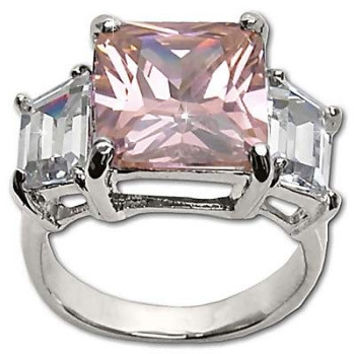New Frescos Sterling Silver Emerald Cut and Baguette CZ Ring in Pink
