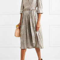 Alice + Olivia - Katina metallic ribbed-knit midi dress