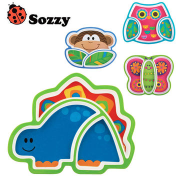 1pcs Sozzy Creative Children's Plate Cartoon Animal Service Plate Appetizer Platter Cute Dishes Baby Sub-grid Eat Tray