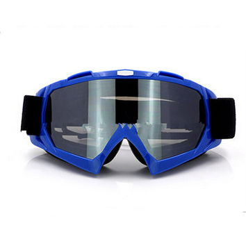 Adult Colourful double Lens Snow Ski Snowboard Goggles Motocross Anti-Fog Fashion Eye Protection Blue Silver