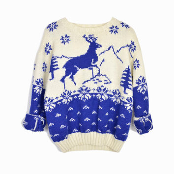 Vintage Ugly Christmas Sweater in Blue Reindeer - women's small