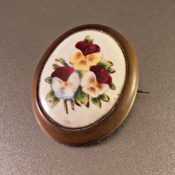 Victorian Bog Oak Brooch, Hand Painted Porcelain Pansy Sentimental Mourning, Antique Jewelry, Large 2""