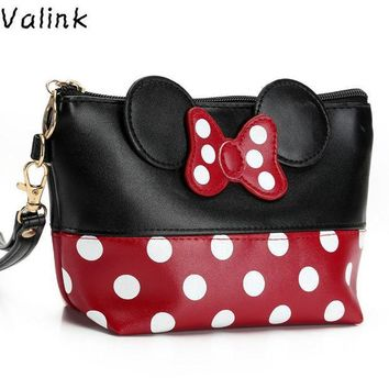 ESBON5U Valink 2017 Women PU Leather Butterfly Bow Makeup Bag Wristlet Cosmetics Bags Fashion Small Travel Pouch Neceser Maquillaje Sac