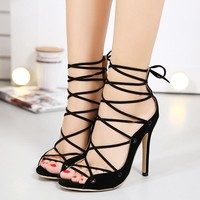 Strappy Black High Heels