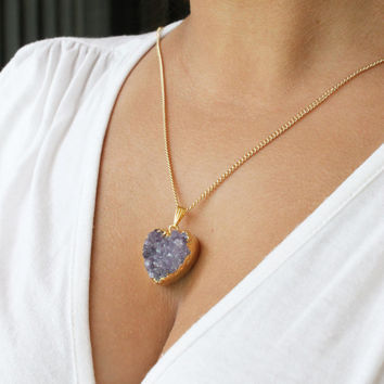 """Stellar Purple Amethyst Agate Druzy Geode Heart Pendant Necklace, Choice of 18k Gold Filled chain 16""""-26"""" & lobster clasp"""