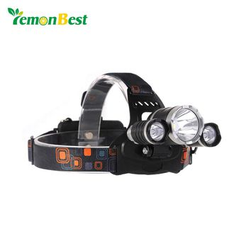3 LED Headlamp XML T6 5000LM Headlight frontale Flashlight 4 Mode Torch Lights with Car Charger With 18650 Battery UK/US/EU