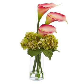 Artificial Flowers -Calla Lily and Hydrangea Pink Arrangement