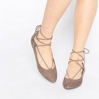 New Look | New Look Lace Up Ballet Shoe at ASOS