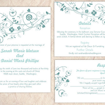 DIY Wedding Invitation Template Set Editable Word File Instant Download Floral Wedding Invitation Bird Invitation Printable Blue Invitations
