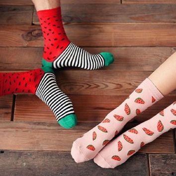 Watermelon Design - Mid-high Socks Funny Crazy Cool Novelty Cute Fun Funky Colorful