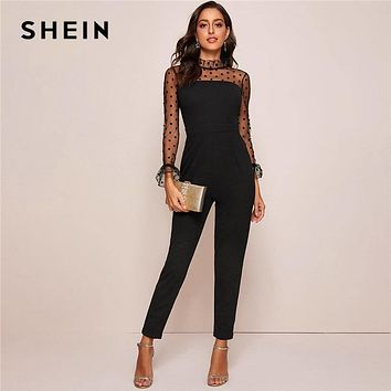 Black Ruffle Trim Polka Dot Mesh Elegant Jumpsuit Women Spring Stand Collar Flounce Sleeve Button Back Sheer Jumpsuits
